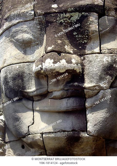 Stone face tower at Bayon temple, Cambodia