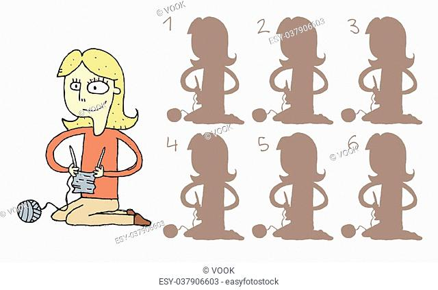 Girl Knitting Shadows Visual Game. Task: find the right shadow image! Answer: No. 4. Illustration is in eps8 vector mode!