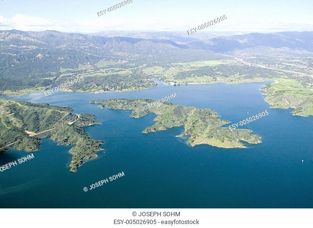 Aerial view of lake island within Lake Casitas in spring in Ventura County, Ojai, California
