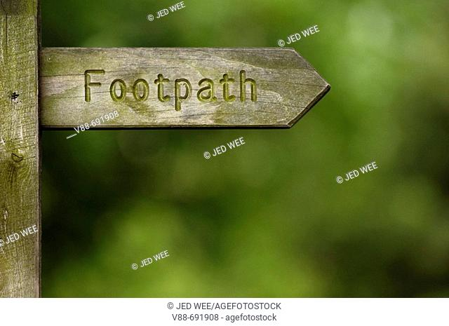 Sign indicating a footpath accessible to the public, Yorkshire Dales National Park, England, UK