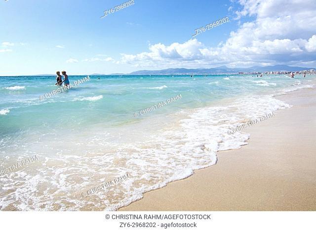 Beach on a sunny day in October in Mallorca, Balearic islands, Spain