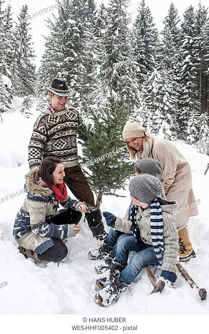 Austria, Altenmarkt-Zauchensee, happy family with Christmas tree in winter forest