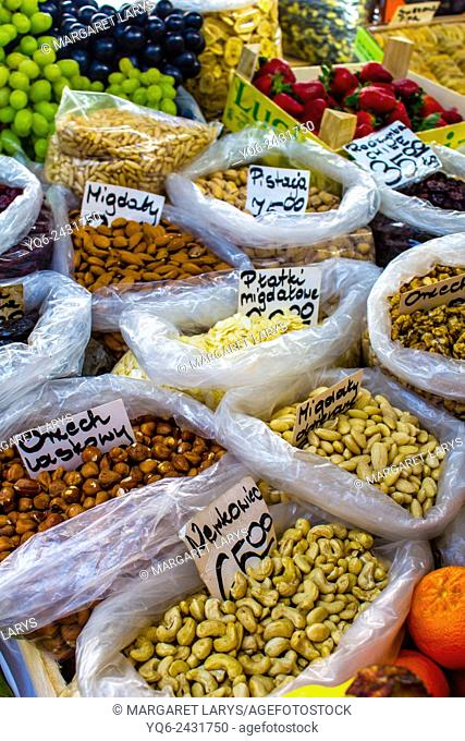 Collection of various, organic nuts in Food market in Cracow, Poland