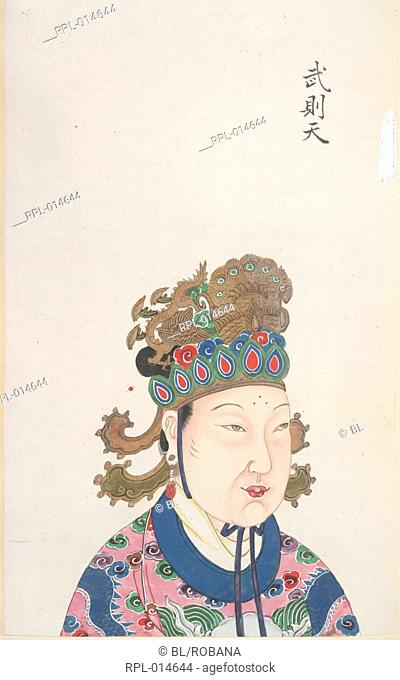 The Empress Wu Zetian, who usurped power during the Tang dynasty in China. She ruled from AD684 to 705. Image taken from An 18th century album of portraits of...