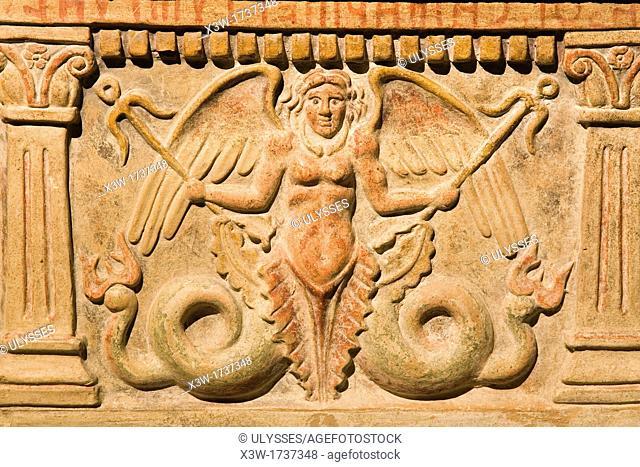 europe, italy, tuscany, siena, santa maria della scala, exhibition of etruscan art, collection of pietro bonci casuccini, cinerary urn