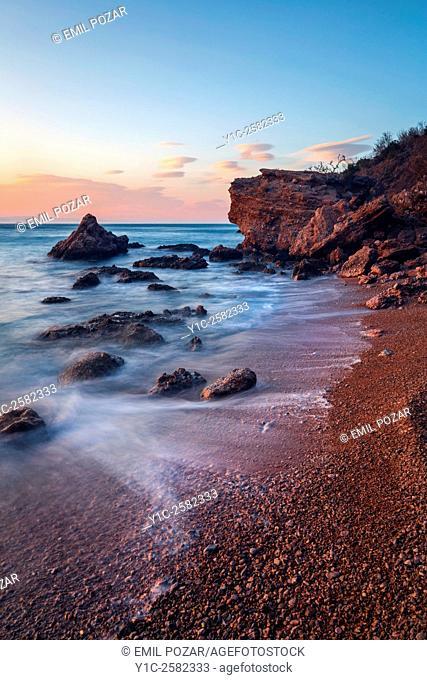 Sunset warm-light rocky coastline northern Dalmatia in Croatia