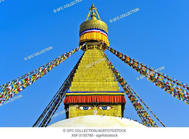 Buddha eyes at the Boudhanath Stupa, Kathmandu, Nepal