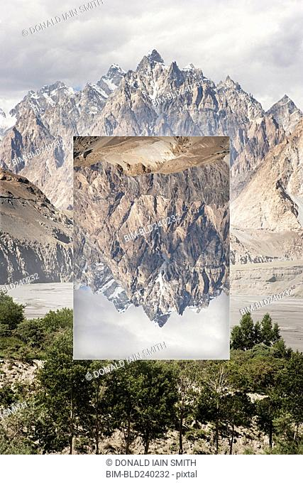 Glitch effect of mountains near river, Hunza, Northern Areas, Pakistan