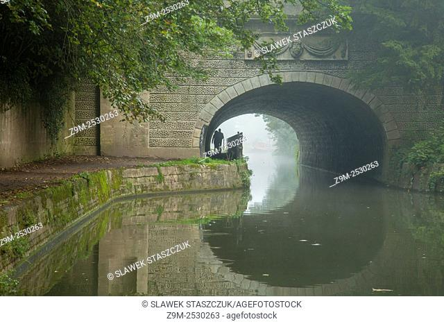 Misty autumn morning at Kennet and Avon canal in Bath, Somerset, England