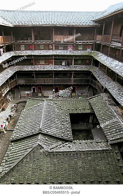 Elevated view of earth building, Nanjing County, Fujian Province of People's Republic of China