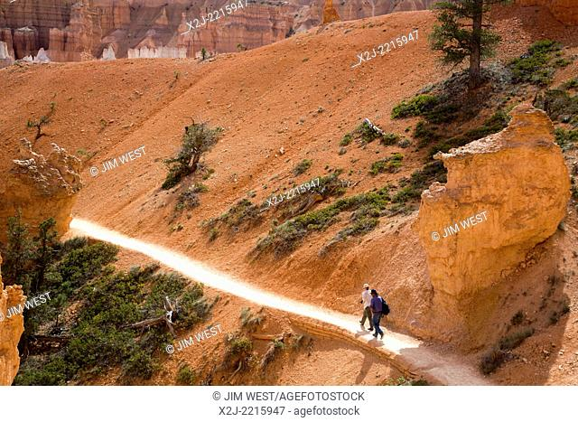 Tropic, Utah - Hikers on the Queens Garden Trail in Bryce Canyon National Park