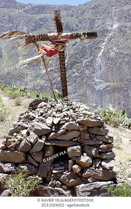 Cross for catholic religion and place of worship during the hiking in Colca Canyon, Peru