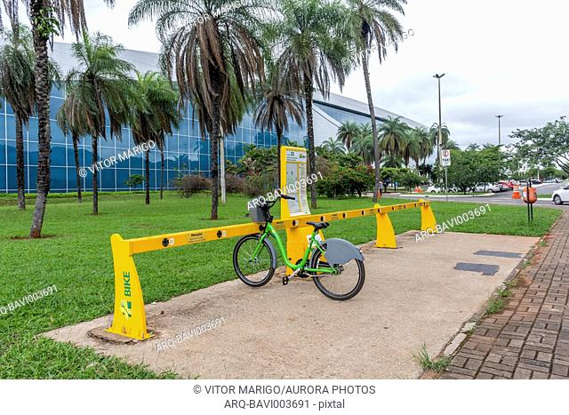 Public bikes for transportation on bike station in central Brasilia, Federal District, capital city of Brazil