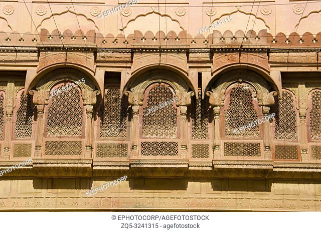 Decorative inner walls of Junagarh Fort, Bikaner, Rajasthan, India