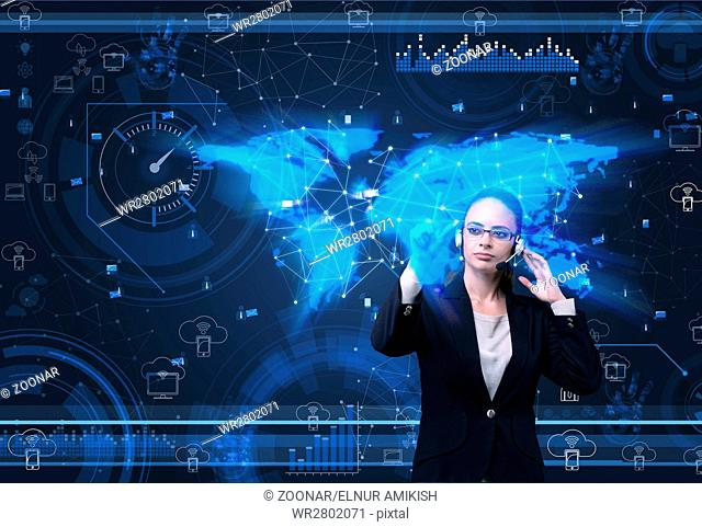 The woman in social data management concept