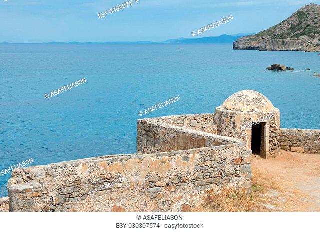 view of Spinalonga Island Fortress, Crete - Greece