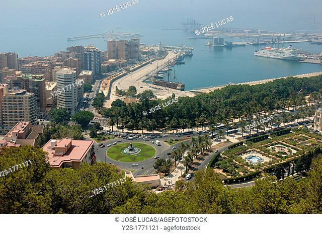 Streetscape with port, Malaga, Spain