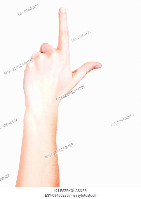 Female hand touching screen, isolated on white
