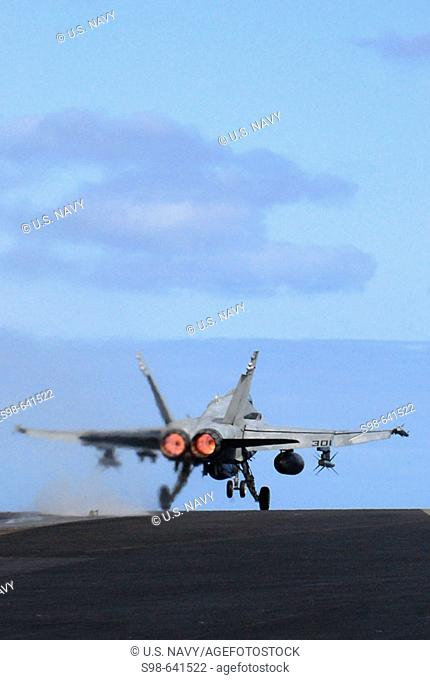 PACIFIC OCEAN (April 19, 2007) - An F/A-18C Hornet assigned to the 'Stingers' of Strike Fighter Squadron (VFA) 113 launches off USS Ronald Reagan (CVN 76)...