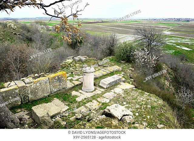Remains of the Greek and Roman Temple of Athena in the Northeast Bastion sector of the ancient ruins of Troy. Anatolia, Turkey