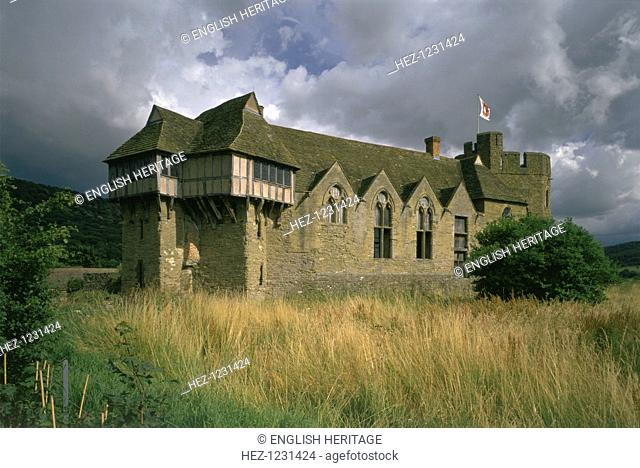 Stokesay Castle, Shropshire, 1996. Seen here from the north west. Stokesay Castle is the finest and best-preserved 13th century fortified manor house in England