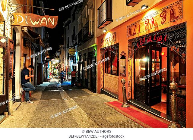 Restaurants at night in the City of Granada, Province of Granada, Andalusia