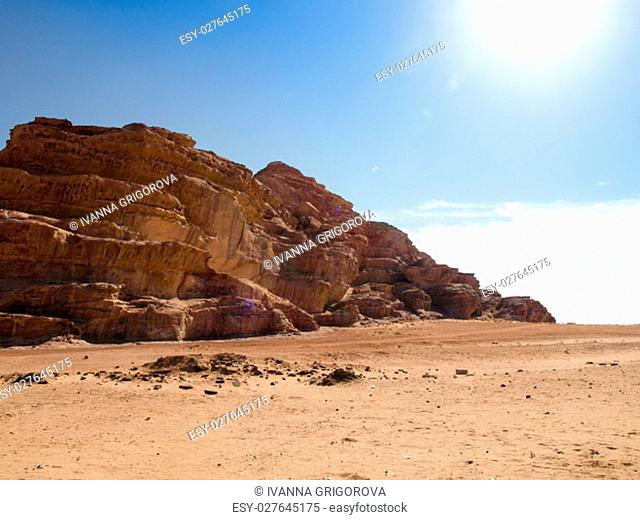 Jordanian desert in Wadi Rum, southern Jordan 60 km to the east of Aqaba. Wadi Rum has led to its designation as a UNESCO World Heritage Site and is known as...