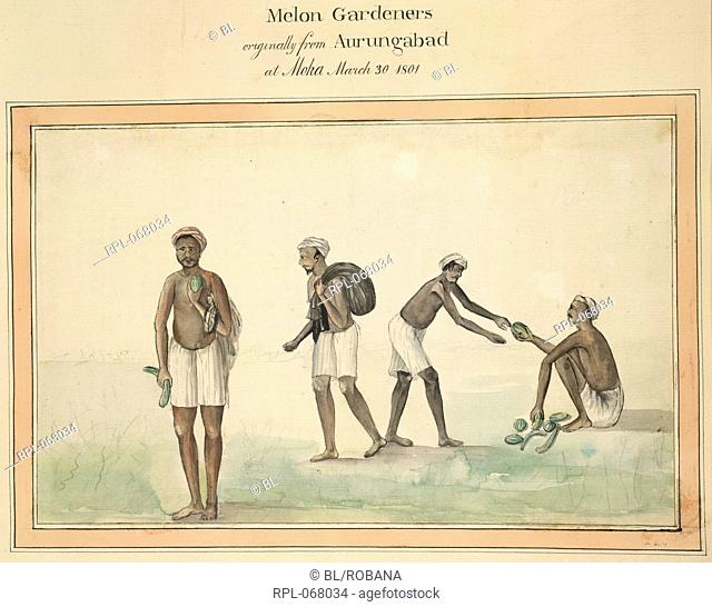 Melon Gardeners originally from Aurungabad at Moka. March 30, 1801. Image taken from Album of 82 drawings depicting the costume of various castes in Balaghat