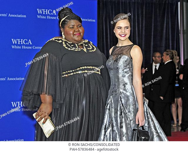 Gabourey Sidibe, left, and Bailee Madison arrive for the 2015 White House Correspondents Association Annual Dinner at the Washington Hilton Hotel on Saturday