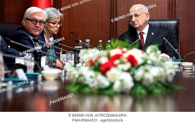 The German foreign minister Frank-Walter Steinmeier (L) in the parliamentary building during talks with Ismael Kahraman (R)