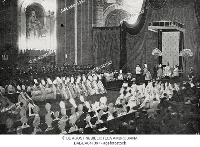 The papal throne during the canonization ceremony of Joan of Arc, May 16, 1920, Vatican, photo by G Felici, from L'Illustrazione Italiana, Year XVLII, No 21