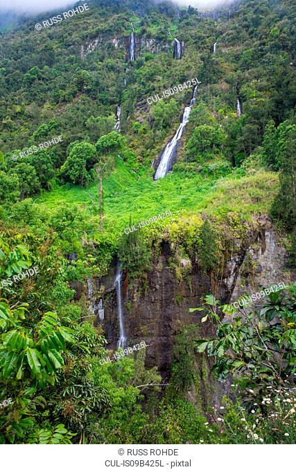 Elevated view of mountain rainforest waterfall, Reunion Island