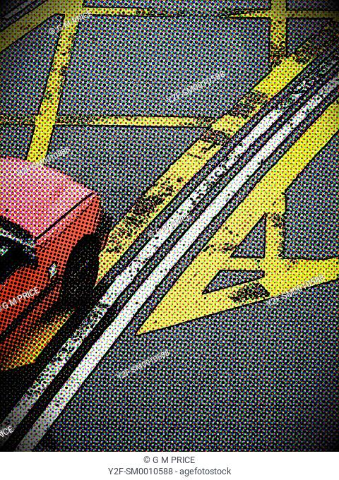 dotted, manipulated view of red Hong Kong taxi and road markings