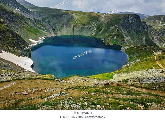 Amazing Landscape of The Eye lake, The Seven Rila Lakes, Bulgaria