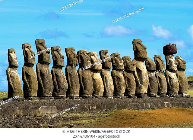 Moais at Ahu Tongariki, Rapa Nui National Park, Easter Island, Chile, Unesco World Heritage