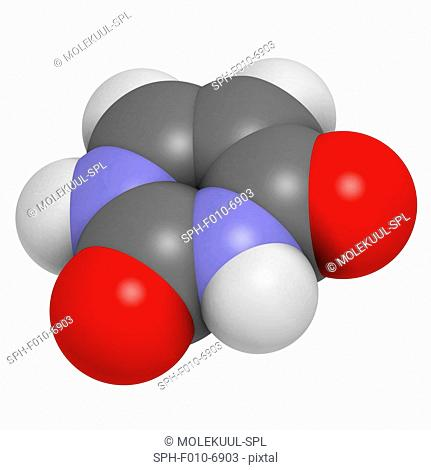 Uracil (U) nucleobase molecule. Present in ribonucleic acid (RNA). Atoms are represented as spheres with conventional colour coding: hydrogen (white)