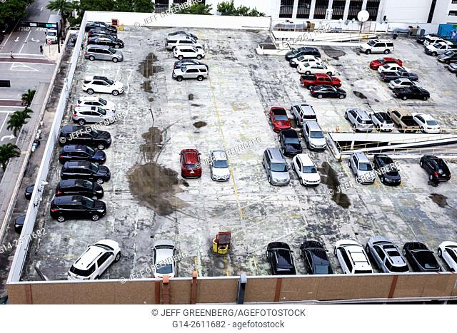 Florida, FL, Miami, downtown, rooftop parking lot, park, car, cars, vehicles, aerial, overhead view