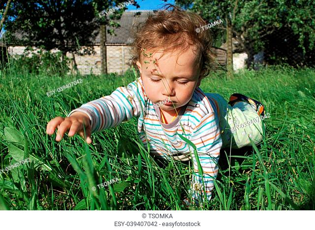 The little boy crawling on the grass behind him, trees, sky visible barn