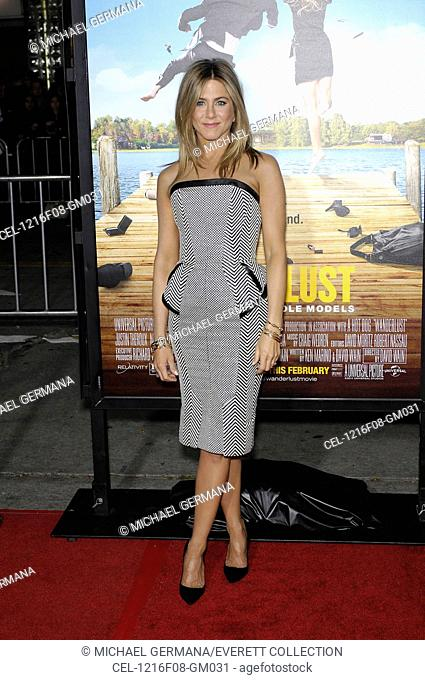 Jennifer Aniston (wearing a Tom Ford dress) at arrivals for WANDERLUST Premiere, Village Theatre at Westwood, Los Angeles, CA February 16, 2012