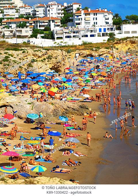 Nudist beach Els Balmins. Sitges. Catalunya. Spain