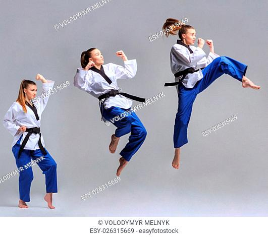 The collage of karate girl in white kimono and black belt training karate over gray background