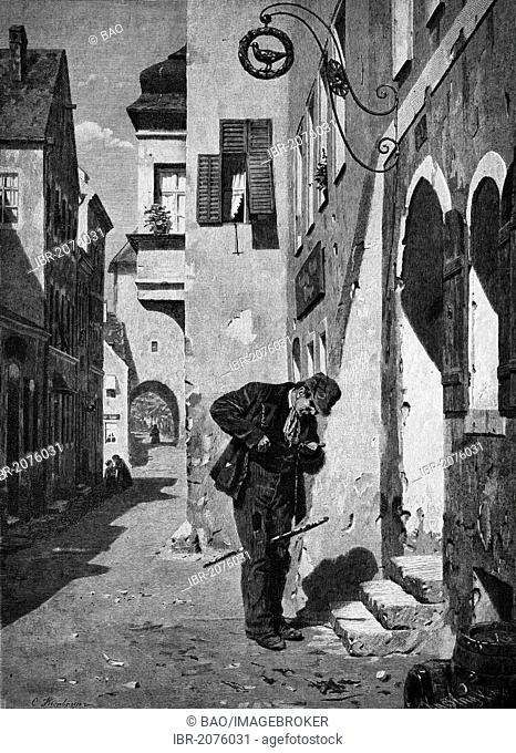 Beggar counting his money, wood engraving, 1880