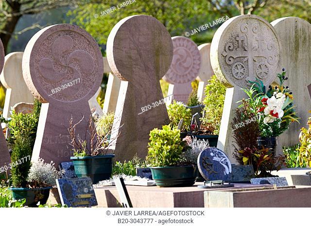 Discoidal steles Basque, Funeral steles, Cemetery, Sara, Pyrénées-Atlantiques department, Aquitaine region, France, Europe