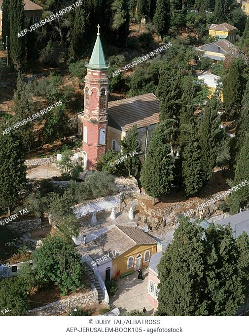 Aerial photograph of the Russian convent Moskovia in Ein Karem