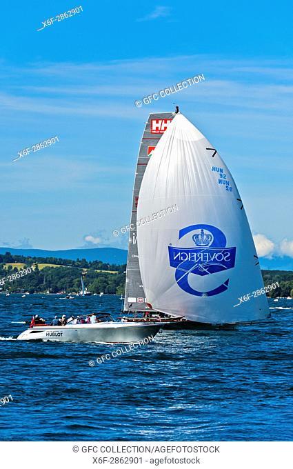 Sailing boat flying a spinnaker sail on Lake Geneva, boat HUN 92 Implant Centre Raffica, Bol d'Or Mirabaud regatta, Geneva, Switzerland