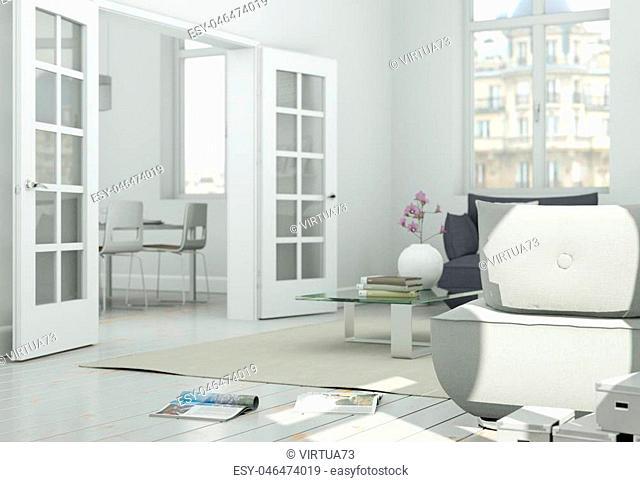 modern skandinavian interior design living room in white style 3d Illustration