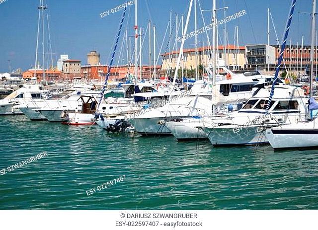 Yachts in marina in Livorno, Italy