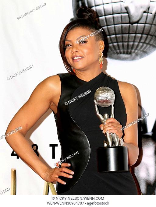 Celebrities and Honorees in the press room at the 48th NAACP Awards at the Pasadena Civic Center Featuring: Taraji P. Henson Where: Pasadena, California