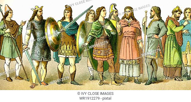 Anglo-Saxon refers to the Germanic-speaking people who settled in England when Roman ruled there ended. These Anglo-Saxon figures represent
