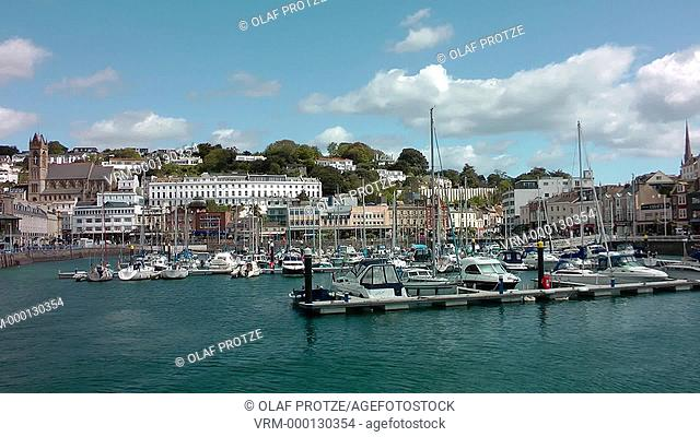 View over the Harbourfront and Marina of Torquay, Devon, England, UK